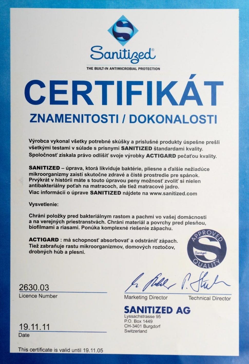 Matrace pre zdravie certifikát znamenitosti