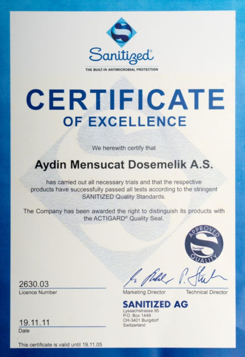Mattress for health certificate of excellence sanitized